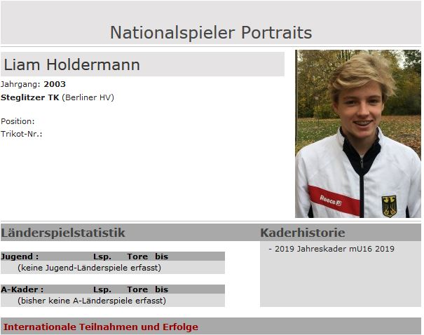 Liam Holdermann für U16 Natio nominiert